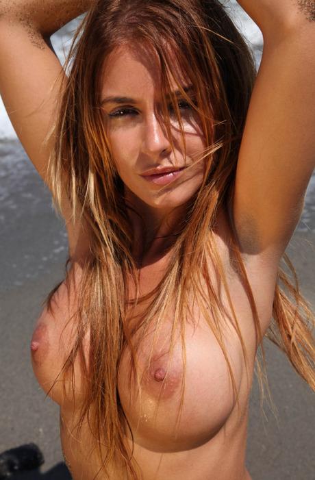 Alexa Varga nude beach naked topless boobs big tits ...