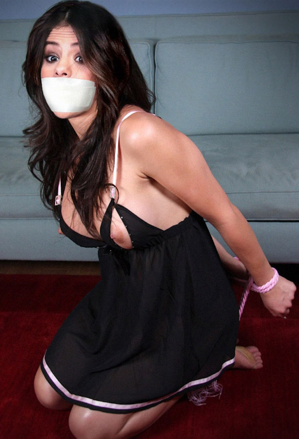 Selena Gomez nude topless BDSM tied up gagged big tits ...